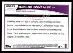 2013 Topps Update #227   -  Carlos Gonzalez All-Star Back Thumbnail
