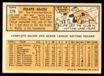1963 Topps #270  Felipe Alou  Back Thumbnail