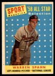 1958 Topps #494   -  Warren Spahn All-Star Front Thumbnail
