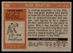 1972 Topps #145  Rick Martin  Back Thumbnail