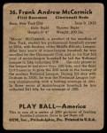 1939 Play Ball #36  Frank McCormick  Back Thumbnail