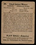 1939 Play Ball #89  Lloyd Waner  Back Thumbnail
