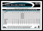 2012 Topps Update #18  Tom Wilhelmsen  Back Thumbnail