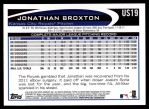 2012 Topps Update #19  Jonathan Broxton  Back Thumbnail