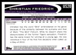 2012 Topps Update #20  Christian Friedrich  Back Thumbnail