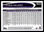 2012 Topps Update #22  Chris Nelson  Back Thumbnail