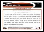 2012 Topps Update #32  Adam Jones  Back Thumbnail