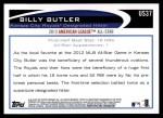 2012 Topps Update #37  Billy Butler  Back Thumbnail