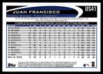 2012 Topps Update #41  Juan Francisco  Back Thumbnail