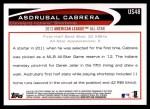 2012 Topps Update #48  Asdrubal Cabrera  Back Thumbnail