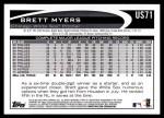 2012 Topps Update #71  Brett Myers  Back Thumbnail