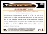 2012 Topps Update #87  Andrew McCutchen  Back Thumbnail