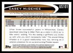 2012 Topps Update #101  Casey McGehee  Back Thumbnail