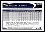 2012 Topps Update #102  Brandon League  Back Thumbnail