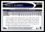 2012 Topps Update #113  Scott Elbert  Back Thumbnail