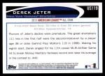 2012 Topps Update #119  Derek Jeter  Back Thumbnail