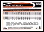2012 Topps Update #135  Clay Hensley  Back Thumbnail