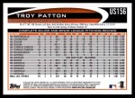 2012 Topps Update #156  Troy Patton  Back Thumbnail
