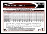 2012 Topps Update #167  Trevor Cahill  Back Thumbnail