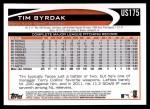 2012 Topps Update #175  Tim Byrdak  Back Thumbnail