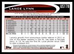 2012 Topps Update #178  Lance Lynn  Back Thumbnail