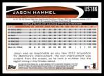 2012 Topps Update #186  Jason Hammel  Back Thumbnail
