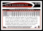 2012 Topps Update #199  Nate Schierholtz  Back Thumbnail