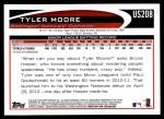 2012 Topps Update #208  Tyler Moore  Back Thumbnail