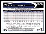 2012 Topps Update #217  Matt Guerrier  Back Thumbnail