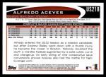 2012 Topps Update #218  Alfredo Aceves  Back Thumbnail