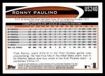 2012 Topps Update #240  Ronny Paulino  Back Thumbnail