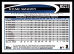 2012 Topps Update #252  Chad Gaudin  Back Thumbnail