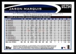 2012 Topps Update #254  Jason Marquis  Back Thumbnail