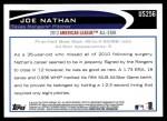 2012 Topps Update #256  Joe Nathan  Back Thumbnail