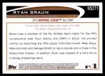 2012 Topps Update #271  Ryan Braun  Back Thumbnail