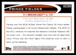 2012 Topps Update #289  Prince Fielder  Back Thumbnail