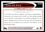 2012 Topps Update #295  Carlos Ruiz  Back Thumbnail