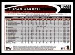 2012 Topps Update #302  Lucas Harrell  Back Thumbnail