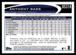 2012 Topps Update #318  Anthony Bass  Back Thumbnail