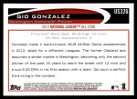 2012 Topps Update #326  Gio Gonzalez  Back Thumbnail