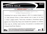 2012 Topps Update #327  Chris Sale  Back Thumbnail