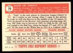 1952 Topps REPRINT #70  Al Zarilla  Back Thumbnail