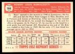 1952 Topps REPRINT #184  Bob Ramazzotti  Back Thumbnail