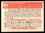 1952 Topps REPRINT #157  Bobby Usher  Back Thumbnail