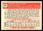 1952 Topps REPRINT #324  Warren Hacker  Back Thumbnail