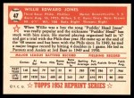 1952 Topps REPRINT #47  Willie Jones  Back Thumbnail