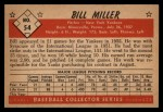 1953 Bowman B&W #54  Bill Miller  Back Thumbnail