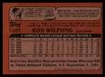 1982 Topps Traded #128 T Rob Wilfong  Back Thumbnail
