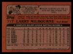 1982 Topps Traded #71 T Larry Milbourne  Back Thumbnail