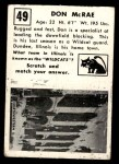 1951 Topps Magic #49  Don McRae  Back Thumbnail